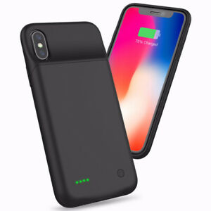 PowerBank Black Rechargeable Protective BatteryCase iPhone X 5000mAh 360 Protect