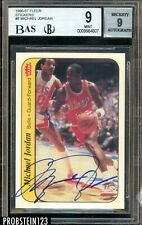 1986-87 Fleer Sticker Basketball #8 Michael Jordan RC HOF Signed AUTO BGS BAS 9
