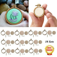 10 Sets Mini Embroidery Hoop Ring Wooden Cross Stitch Frame Hand DIY Crafts Kit