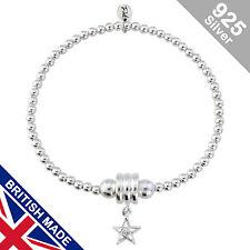 Trink Star Sterling Silver Beaded White Stone Charm Bracelet Elastic Stretch
