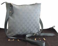 Authentic GUCCI Shoulder Cross Body Bag GG Canvas Leather Light Blue B8039