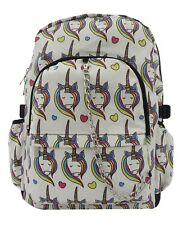 UNICORN White Heart Cool Backpack Rucksack School College Goth Emo Skull Bag