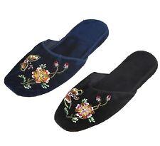 Handmade Embroidered Butterfly Rosebuds Floral Chinese Women Velvet Slippers New