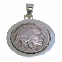 925 Sterling Silver Indian Head Authentic Coin Pendant