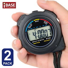 2x Handheld Stop Watch Digital Chronograph Sports Counter Stopwatch