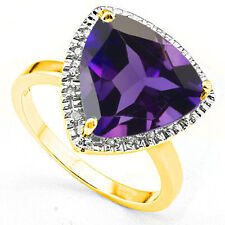 Elegant 5.03 ctw Diamond & Amethyst Platinum Over 925 Y Sterling Silver Ring