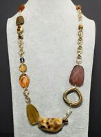 """30"""" Gold Brown Amber Tone Beaded Statement Necklace"""