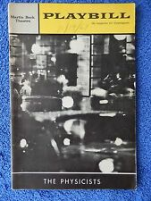 The Physicists - Martin Beck Theatre Playbill - October 1964 - Hume Cronyn