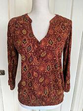 LUCKY BRAND Womens V Neck Peasant Blouse Shirt Long Sleeve Bohemian Size Medium