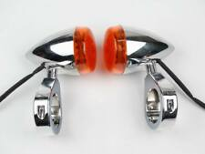 Motorcycle Chrome 39mm Front Fork Clamp LED Turn Signals Light Indicators Motor