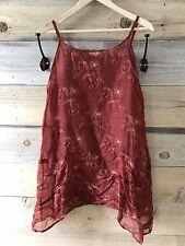 Krista Larson Silk Embroidery Print Slip/Dress In A Beautiful Red (brick)
