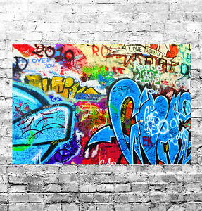 STUNNING ABSTRACT GRAFFITI POP ART #28 QUALITY FRAMED CANVAS PICTURE WALL ART