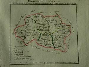 BELLE CARTE FRANCE ALLIER AUVERGNE MOULINS VICHY MONTLUCON NAPOLÉON EMPIRE 1802