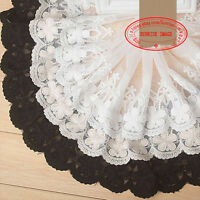 1yard, Embroidered flower Cotton tulle lace trim for DIY decor Sewing Craft FL76