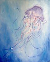 """Sparkle"" Original Oil Painting jellyfish ocean tropical fish beach octopus koi"