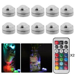 10x LED RGB Submersible Waterproof Party Vase Decor Base Light + 1x Remote