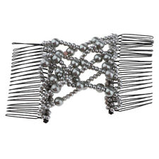 Easy Magic Double Hair Combs Stretchy Gray Pearls Hair Clips Accessories