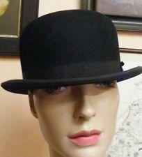 Vintage black fur felt bowler hat Dunn & Co The City 1930s/40s small size 55cm