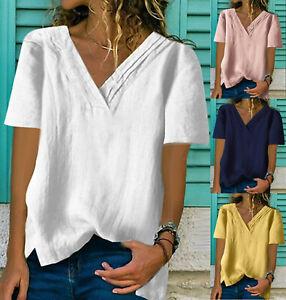 Summer Womens short Sleeve Tops Blouse V-Neck Cotton blend Loose Shirt Plus Size