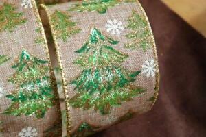 """Wire Edged Green Gold Burlap Glitter Tree Wired Ribbon 2.5"""" Christmas Bow Wreath"""