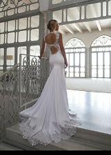White Bridal Gown Backless High-Neck Mermaid Long Lace Beach Wedding Dress 2017