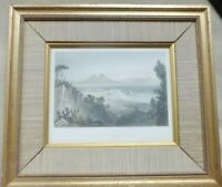 c1840 Original Antique Print - ITALY View NAPLES FROM THE VILLA FALCONNET