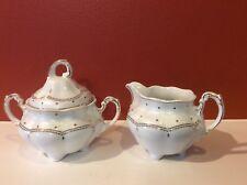 Vtg CMIELOW Poland Porcelain Sugar Bowl w/Lid Creamer tea coffee Set White Gold