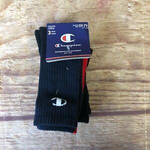 Champion Youth Size 5-7Y Red/Black/Navy Logo Crew Socks 3-Pair NWT