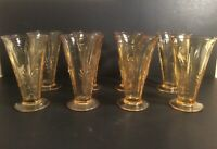 "Fostoria VTG Elegant Glassware Yellow Amber Baroque 6"" Footed Tumbler Set Of 8"