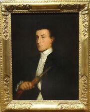 Grand 18th Siècle Italien Portrait Gentleman Zampogna player musicien peinture