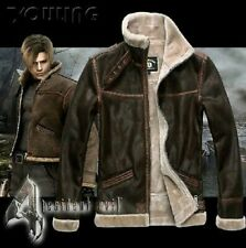 RESIDENT EVIL 4 LEON KENNEDY'S PU leather Faux fur Jackets Costume Cosplay UK