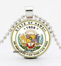 Fashion Hawaii U.S.State Cabochon Glass Tibetan silver Pendant Necklace HI