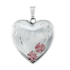 Locket With Flowers Sterling Silver Heart Mom