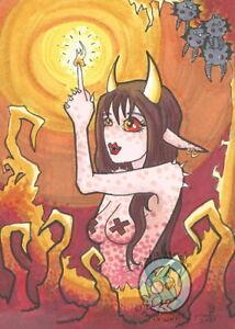 Ruby Cave Demon Nymph Girl bats Original dark Fantasy ACEO Illustration art ejw