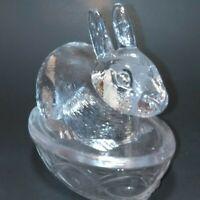 Bunny Rabbit Glass Candy Dish ~ Easter Decor ~ Lid Basket Nest Trinket ~ Vintage