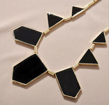 Fashion black shapes irregular geometry necklace Alloy Black Enamel  (lot of 3)