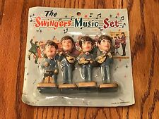 THE BEATLES THE SWINGER MUSIC SET OF 4-INCH NODDER DOLLS ON CARD STILL SEALED!