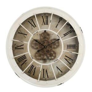 NEW Bassett round industrial exposed gear wall clock - skeleton clock