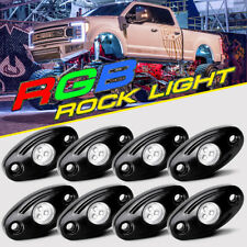 8PCS CREE RGB LED Multi-Color Rock Light Wireless Bluetooth Driving Truck Boat