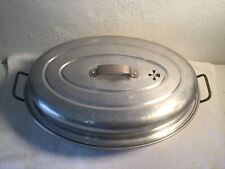 VINTAGE ALUMINUM ROASTING PAN WITH VENTED LID AND LIFT-OUT RACK (NO HANDLES)