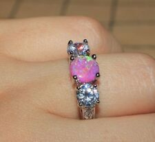 fire opal Cz ring gemstone silver jewelry Sz 6.5 engagement cocktail wedding H65