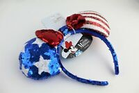 Disney Minnie Mouse Ears 4th Of July Americana Red White Blue Headband Hat NWT!