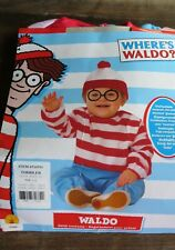 Rubies WHERE'S WALDO Child Costume~Toddler 1-2 yr ~Jumpsuit & Hat w/ Glasses New