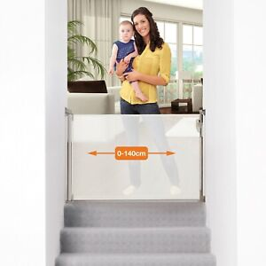 Dreambaby Retractable Extra-Tall Baby & Pet Safety Mesh Stair Gate,140cm, White