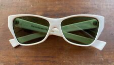 1960s Vintage Foster Grant Mod Space Age White Sunglasses Green Ff77 Lenses