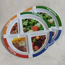 Set of 2 Weight Loss Portion Control Plates 10in Fruit/Protein/Vegetables/Starch