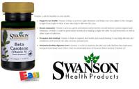 Beta Carotène Vitamine A De Swanson 10,000IU 100 Gélule De Par Bouteille