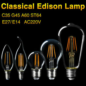 E14 E27 LED Lights Filament Edison Bulbs COB Glass Energy Saving Lamp 4-16W 220V
