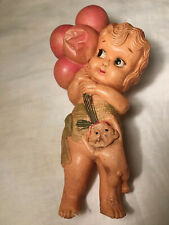 Antique Kewpie celluloid doll Girl Holding Balloons With Dog Made In Japan