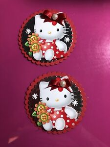 2 x Decoupage Pictures of Hellllo Kitty Theme Toppers
